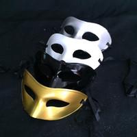 Wholesale Men s Masquerade Mask Fancy Dress Venetian Masks Masquerade Masks Plastic Half Face Mask Optional Multi color Black White Gold Silv