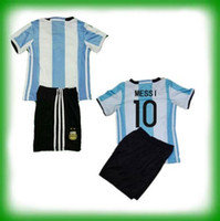 argentina soccer shirts - New Argentina Kids kit soccer Jersey MESSI home DI MARIA AGUERO Argentina Children football shirt jersey