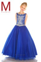 Wholesale 2017 Hot Scoop Neck Tulle Girls Pageant Dresses Kids Crystal Beads Top Floor Length Formal Party Flower Girls Gowns with Lace Up