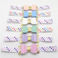 achat en gros de wrap nouveau-né pourpre-Nouveau-né Star Headband Or Glitter Faux Cuir Bow Stretch Head Bande Colorful Star Imprimer Hairband Purple Head Wrap