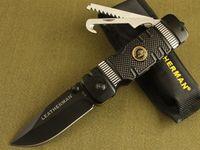 Wholesale OEM Leatherman Tactical Folding Knives Cr13Mov HRC Titanium Blade Aluminum Handle Camping Hunting Survival Pocket Knives EDC Tools