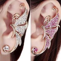 screw back earrings - Best Quality Shiny Butterfly Wings Shape Left Ear Cuff Womens Clip Clamp Earrings pc TU6 SC7