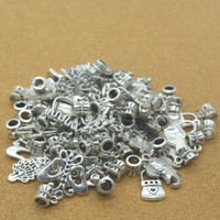 7mm big jewellry - Mix Sent at random Style Big Hole Loose Space Beads Charms Antique Silver Pendants for DIY Bracelet Necklace Jewelry women jewellry DK001
