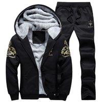 auto jacket - 2 tracksuit men joggers for men plus size hooded mens tracksuits for winter fleece sport hoodie jacket coat sweat pants XL