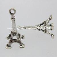 antique eiffel tower - 13107 Antique Silver Tone Alloy Paris Eiffel Tower Charms