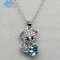 baby cross necklace - 18K White Gold Plated Rhinestone Crystal cute Luxury Baby Bear necklaces for women Jewelry Z4137