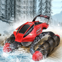big rc boats - Creative Design RC Tank Boat in Function Amphibious RC Car Toy with LED Light for Big Kids Gift