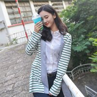 Wholesale Good Quality Autumn Winter Women Fashion Plus Size Long Style Slim Knitwear Stripe Stitching Loose Cardigan