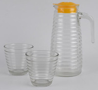 beer glass set - Glass water bottle wave style kettle cups set Juice Drinkware