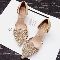 ballet shoes pictures - Europe cheap Princess wedding pumps shoes the bride Lace shoes wedges pearl shoes picture taken to perform the maid of honor