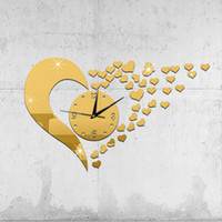 Wholesale Multil functional Sticker Fashion DIY Wall Clock Heart Mirror Effect Quartz Wall Clock Pretty Decal Set for Home Decoration