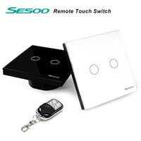 Wholesale EU UK Standard SESOO Remote Control Switches Gang Way Crystal Glass Switch Panel Remote Wall Touch Switch LED Indicator
