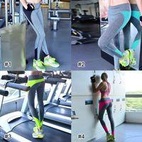 al por mayor high waist pants-Mujeres Yoga Running Al aire libre Deportivo Ejercicio De Alta Cintura Leggings Gimnasio Fitness Slim Capri Pantalones Pantalones 2501036