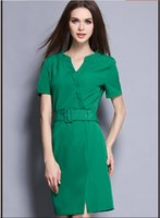 Wholesale Summer Dresses For Women Fashion V Neck Business Dresses Ladies Sexy Kick Pleat One step Skirts Girls Short Sleeve OL Dress With Waistband