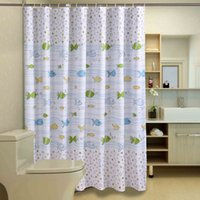 Wholesale Lovely Polyester Fishes And Bubbles Waterproof Shower Curtains Moldproof Thicken Curtain Eco friendly Bathroom Curtains With Plastic Hooks