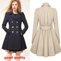 Wholesale 4046 women s clothing girl women new fashion medium long trench coat jacket dress ladies autumn outerwear plus size coats jackets XXXL