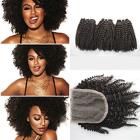 Cheap DHL FREE Mongolian afro kinky curly with bundles unprocessed virgin human hair weaves closure kinky curly