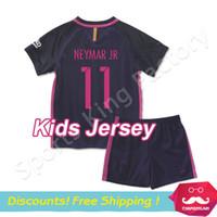 football set - kids soccer jerseys Camisola adolescente INESTA SUAREZ MESSI NEYMAR JR FOOTBALL jerseys Children MESSI football set kit