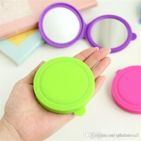 Wholesale Round Shape Soft Silicone Makeup Mirror Candy Colors Cute Pocket Cosmetic Mirror with Magnifier
