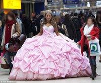 gypsy wedding dresses - Pink Draped Luxury Ball Gown Taffeta Irish Traveler Wedding Dresses with Sweetheart Neckline Beaded Crystals Custom Made Gypsy Bridal Gowns