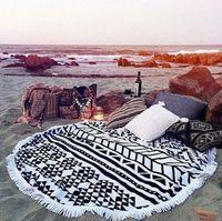 Wholesale Fashion Bohemia beach towel M Tassel Round Knitted beach towel microfiber Round Beach Towel with tassels swimming beach towels D389