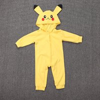 baby playsuit animal - Baby Girls Poke Romper Costume Playsuit Jumpsuits With Hood Halloween Cosplay Pika Long Sleeves Spring Autumn