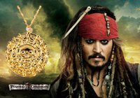 Wholesale Movie Jewelry Pendant Necklace Pirates of the Caribbean Jack Aztec Skull Alloy Metal Pendant Exaggerated Vintage Necklace Gold Silver