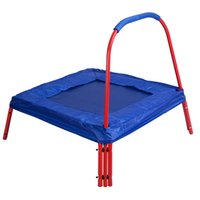Wholesale Blue Square Jumping Trampoline x FT Kids w Handle Bar and Safety Pad