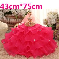 Wholesale 43cm High Barbie Doll Wedding Dress Large Size Skirt Luxury D Eye Children Birthday Present Toy Bride Decoration Gift Girl
