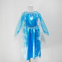 Cheap New Frozen dress costumes long sleeve skirt Princess Elsa party wear clothing for Halloween Saints'Day frozen Princess dream dress(1701009)