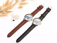 bicycle belt buckle - Fashion design casual leather strap buckle belt buckle by bicycle pattern round dial sports quartz watch creative gifts watch