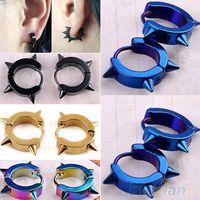 Wholesale Fashion Unisex Titanium Steel Punk Rivet Ear Studs Spike Hoop Huggie Piercing Earrings New Hot Sale