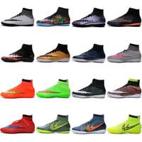 Wholesale With Box Mens Indoor IC MercurialX Proximo Elastico Superfly Football Boots Sale Soccer Cleats shoesScarpe Calcio Chuteira Futebol Society