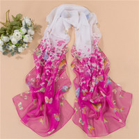 Wholesale New Style Scarf Sarongs Brisk Butterfly Pattern Scarves Chiffon Printed Scarfs multi color for choose