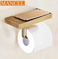 Wholesale Retro style toilet paper holder racks full of copper bathroom towel ring Bathroom Accessories Tissue Box Bathroom Shelves