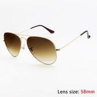 Wholesale 2016 Top Brand Hot Sale Top Quality Pilot Sunglasses Men Women Designer Alloy Metal Frame Brown Gradient Glass Lens mm Original Case Box