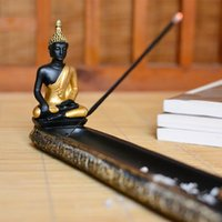 Wholesale Thailand Buddha Resin Stick Incense Burner Zen Garden Aromatherapy Incense Holder With Candlestick Home Decoration Temple Supplies