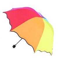 Wholesale Top Quality Rib Color Rainbow Fashion Long Handle Straight Anti UV Sun Rain Stick Umbrella Manual Big Parasol