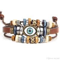 Cheap Handmade Eye Jewelry Unisex Girls Women Leather Bracelets Wristband Blue Evil Eye Bead Leather Bracelets For Men Fashion Jewelry