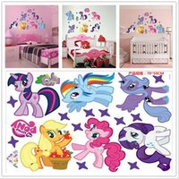 Wholesale 7 designs children bedroom cartoon wall stickers Frozen My little pony zootopia pvc removable wall stickers D762