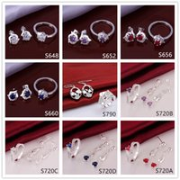 Wholesale 6 sets mixed style women s gemstone sterling silver jewelry sets cheap fashion silver Earring Ring jewelry set GTS48 factory direct sale