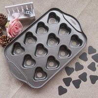 Wholesale Cup Mini Heart Shape Cake Mold Oven Non stick Hopper Cake Mould DIY Baking Tools Valentines Wedding Dessert bundt