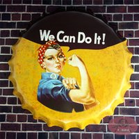 aluminum cans crafts - Vintage Round Sign We Can Do It Garage Sign With Striking Home Decor Man Cave Craft Home Wall Decor cm RD