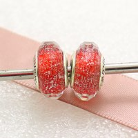 Cheap 5pcs 925 Sterling Silver Thread Screw Red Shimmering Faceted Murano Glass Bead Fit European Pandora Style Charm Jewelry Bracelets & Necklace