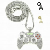 alloy controller - 2016 Hip Hop Game Machine Handle Pendant Necklace Mens Full Crystal Heavy Necklace Fashion Iced Out Game controller Necklace