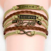 Wholesale Cute Infinity Charm Bracelets - 44 styles charm bracelets for women Love Believe Owl Heart Bird Bestfriend Jewelry fashion Leather Cute Infinity Bracelets