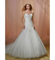 beads embellishments - Fit and Flare Mermaid Wedding Dresses Bridal Gown Featuring Lace Bodice with bead Embellishment Strapless sweetheart neckline