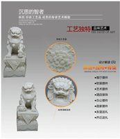 beijing antiques - Resin Consecrating feng shui ornaments one pair of sandstone lion Beijing palace outdoor lions defends from evil crafts