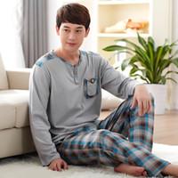 Wholesale Cotton Pajamas men Couples Sleepwear O neck Casual Plaid Pajama Set Plus Size Home Dress XL