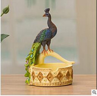Wholesale 2016 Hot New European style wedding gift crafts ornaments resin home decorations creative Peacock ashtray very popular